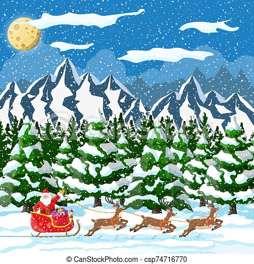 Christmas new year winter landscape - csp74716770