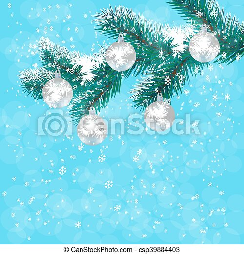 Christmas New Years Card Silver Balls On A Branch Blue Tree Background Of Falling