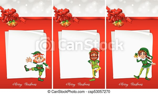 Christmas Note Template With Elf Illustration