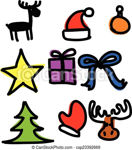 christmas objects collection cartoon simple shapes clip art rh canstockphoto com free vector clipart collections free vector clipart collections