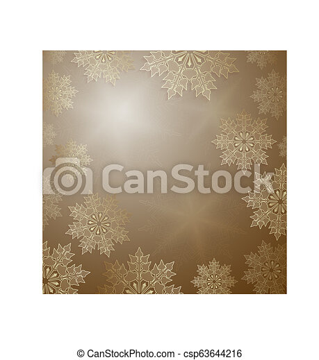 Christmas ocher design with elegant golden snowflakes, - csp63644216