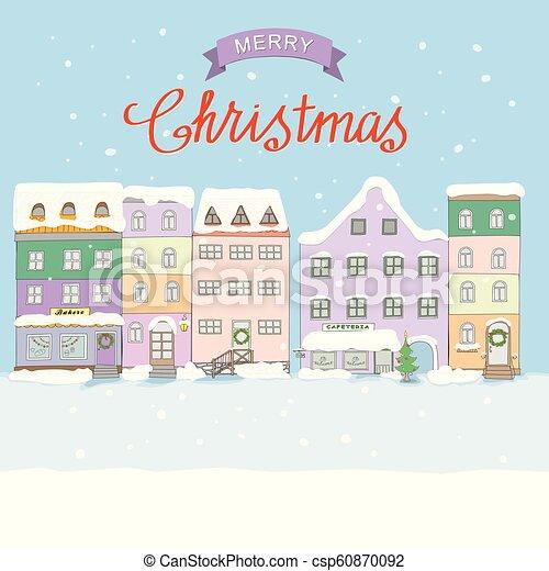 Christmas Old Town Christmas Card Illustration Of The Cartoon Retro