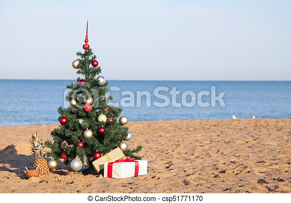 Christmas Beach.Christmas On The Beach With Gifts New Year