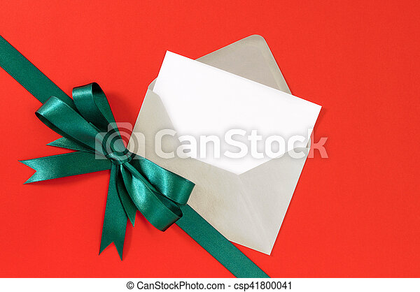 Christmas Or Birthday Card On Red Gift Paper Background With Green
