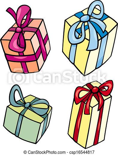 Christmas Or Birthday Gift Clip Art Set Cartoon Illustration Of