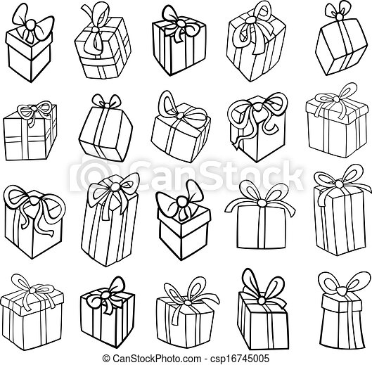 Christmas Or Birthday Gifts Coloring Page Black And White Cartoon