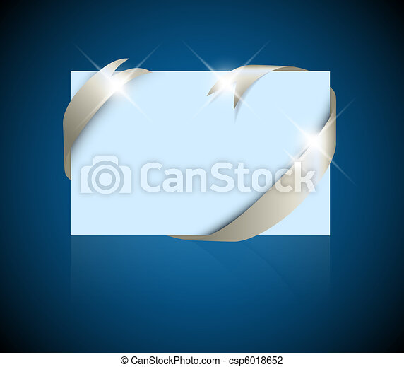 Christmas or wedding card - silver ribbon around blank blue paper - csp6018652