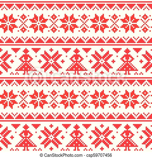 Christmas Or Winter Vector Seamless Pattern Inspired By Sami