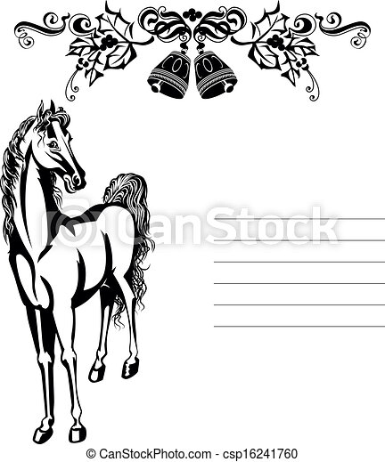 Christmas Horse Drawing.Christmas Ornament And Horse