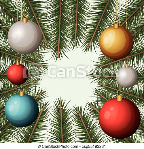 Christmas Ornament Background.Christmas Ornament Background With Colorful Garlands And Pine Branches
