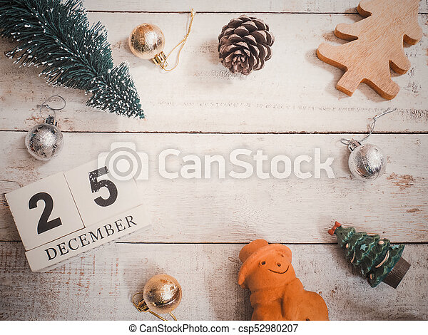 Christmas ornament decoration on wooden grunge background - csp52980207