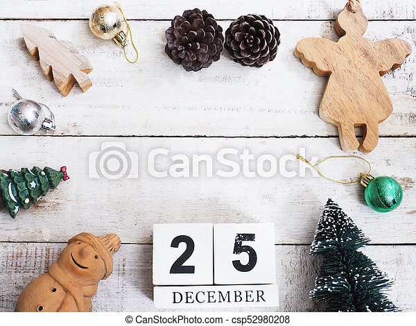 Christmas ornament decoration on wooden grunge background - csp52980208
