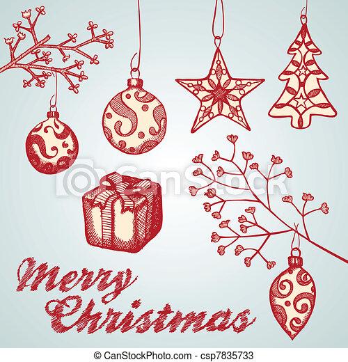 Christmas ornament sketches - csp7835733