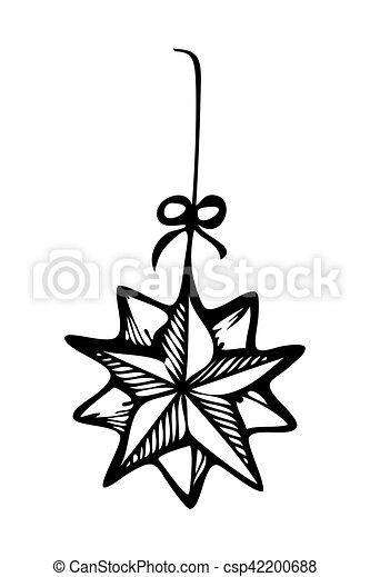 Christmas Ornament Star Zentangle Style Sketch