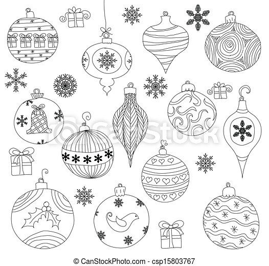 Hand Drawn Christmas Ornaments Collection Isolated