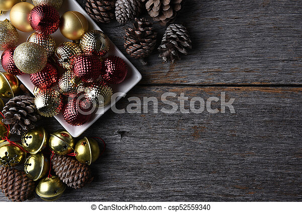 Christmas Ornaments On Rustic Wood Table