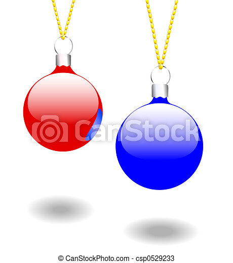 Christmas Ornaments Red & BlueChristmas Ornaments Red & Blue - csp0529233