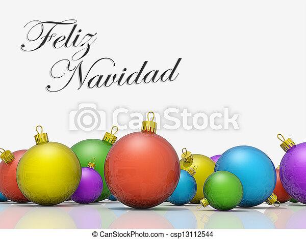 Merry Christmas In Spanish.Christmas Ornaments Row Merry Christmas Spanish Language