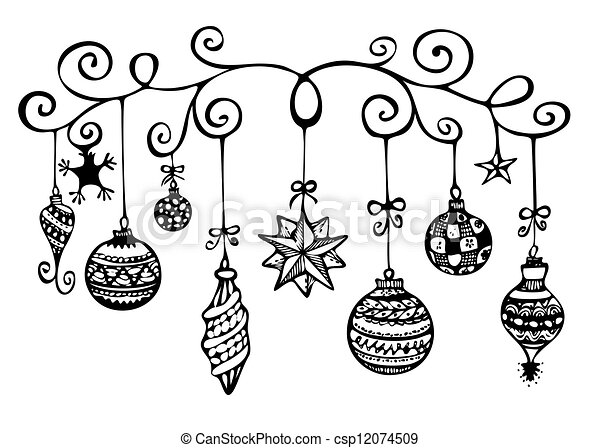 christmas ornaments sketch in black and white stock. Black Bedroom Furniture Sets. Home Design Ideas