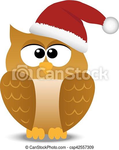 Christmas Owl.Christmas Owl In Santa Hat