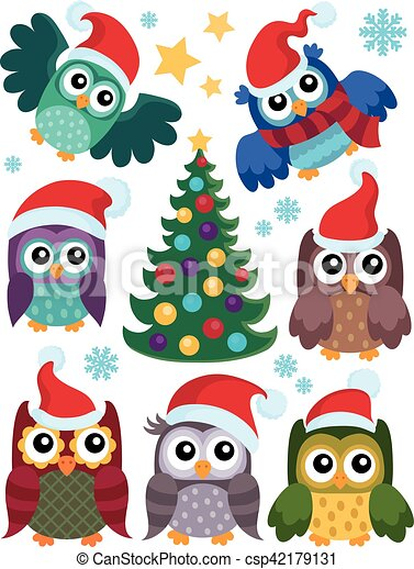 Christmas owls thematic set 1 - csp42179131