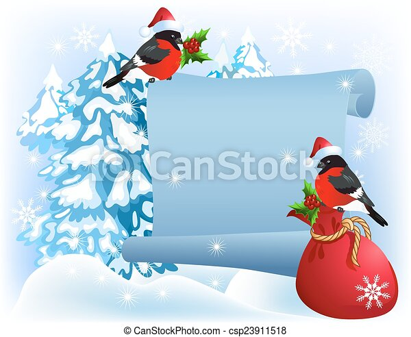 Christmas parchment with bullfinches in Santa Claus hat - csp23911518