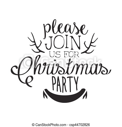 Christmas Party Black And White Invitation Card Design Template With Calligraphic Text Deer Antlers