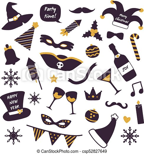 Christmas Party Decorations Vector Illustration - csp52827649