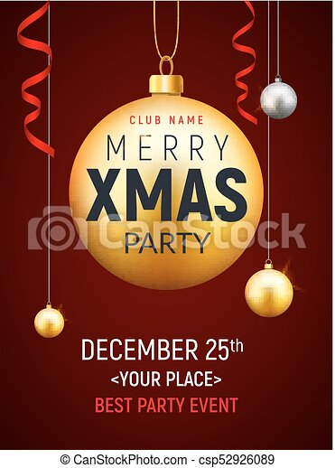 christmas party flyer with golden ball xmas invitation holiday