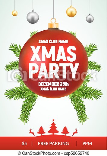 Christmas Invitation Background Gold.Christmas Party Flyer With Red And Gold Ball Xmas Invitation Background Card With Fir Tree