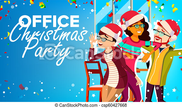 Christmas Party Images Cartoon.Christmas Party In Office Vector New Year S Hats Having Fun Happy Business People Cartoon Illustration