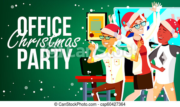 Christmas Party Images Clip Art.Christmas Party In Office Vector Santa Hats Friends In Office Merry People New Year S Hats Cartoon Illustration