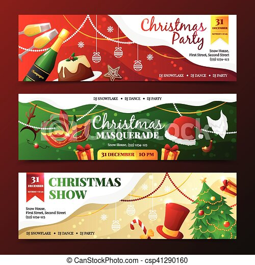 45bd5740b83e Christmas party invitation banners. Colorful flat design christmas ...