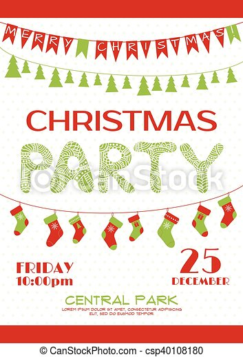 Christmas party invitation poster template christmas party christmas party invitation poster template csp40108180 stopboris Images