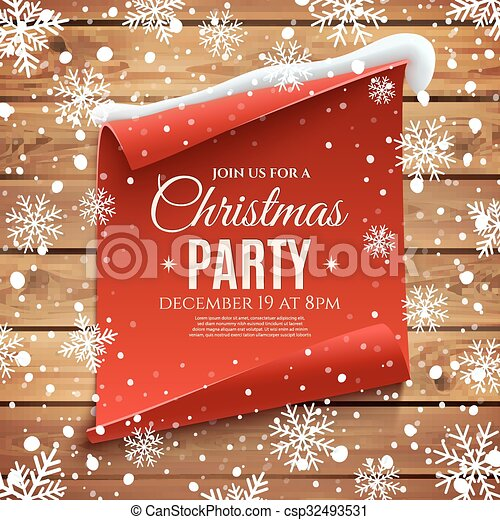 Christmas party invitation poster red curved paper banner vector christmas party invitation poster csp32493531 stopboris Images