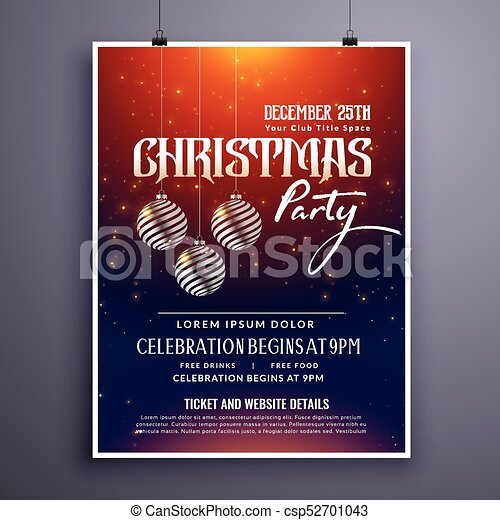 Christmas Party Flyer Template.Christmas Party Invitation Template Design With Hanging Balls