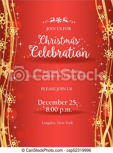 Christmas Invitation Background Gold.Christmas Party Invitation With Gold Decorative Snowflakes