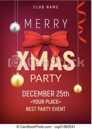 Christmas Party Flyer Template.Christmas Party Poster Template Christmas Gold Balls And Red Bow Flyer Decoration Invitation Banner