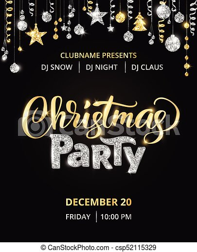 christmas party poster template gold and silver on black glitter border garland with