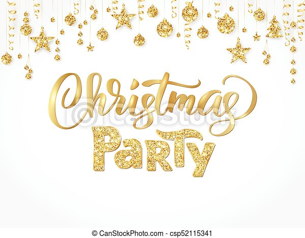 Christmas party poster template gold on white hand written christmas party poster template gold on white hand written lettering isolated golden glitter maxwellsz
