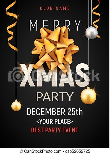 christmas party poster template christmas gold silver balls and golden bow flyer decoration invitation banner
