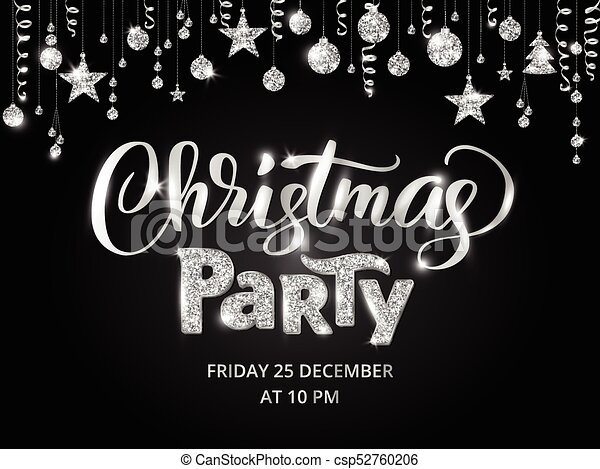 Christmas Party Poster Template Silver On Black Glitter Border Garland With Hanging Balls And Ribbons