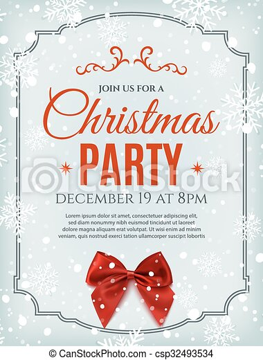 Christmas party poster template with red bow. - csp32493534