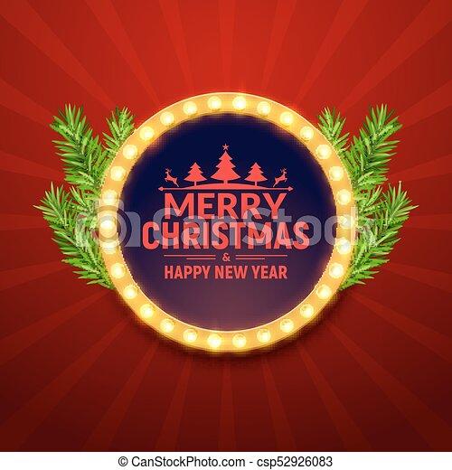 Christmas Party Poster.Christmas Party Poster With Retro Light Frame Sign Neon Retro Party Xmas Banner Template