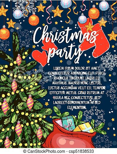 Christmas party vector sketch invitation poster