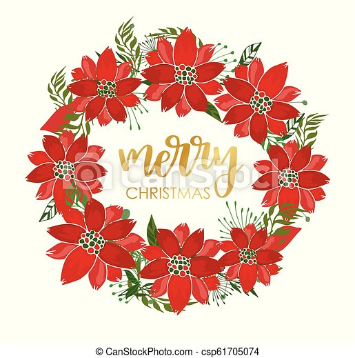 Christmas Party Wreath Poinsettia Flower Bouquet Card Merry Christmas Card Design With Poinsettia Flowers And Leaves And Canstock