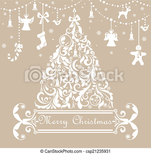 Christmas pastel greeting card - csp21235931