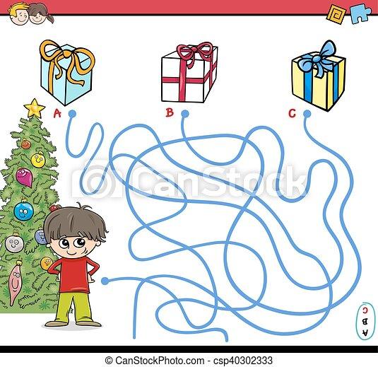 christmas path maze activity - csp40302333