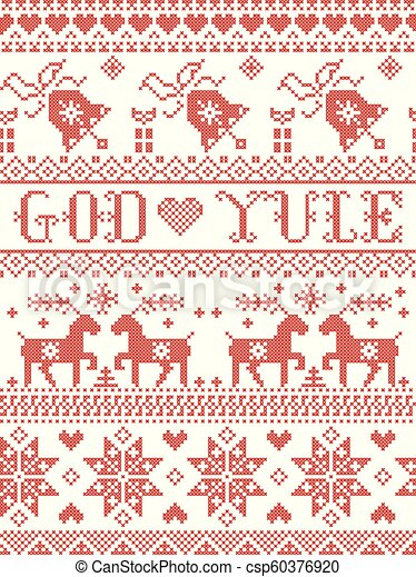 Merry Christmas In Norwegian.Christmas Pattern Merry Christmas In Norwegian God Yule Vector Seamless Pattern Inspired By Nordic Culture Festive Winter In Cross Stitch With Heart