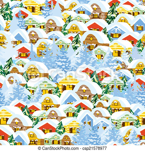 Christmas Gift Wrap Design.Christmas Pattern With Houses